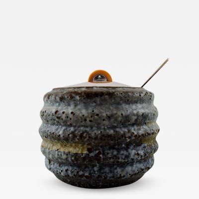 Hans Hansen Unique marmalade jar of bluish glazed stoneware with lid