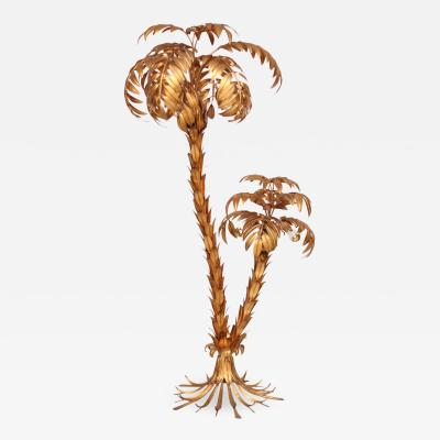 Hans K gl Huge Gilt Metal Two Trunk Palm Tree Floor Lamp by Hans K gl