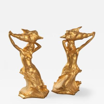 Hans M ller French Art Nouveau Bronze Candlesticks by Muller
