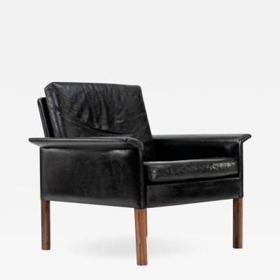 Hans Olsen Danish Leather and Rosewood Lounge Chair by Hans Olsen