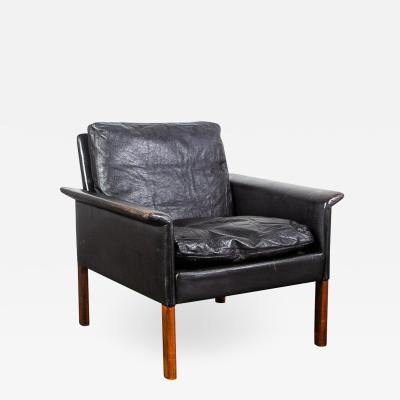 Hans Olsen Danish Leather and Rosewood Lounge Chair by Hans Olsen for CS Mobler