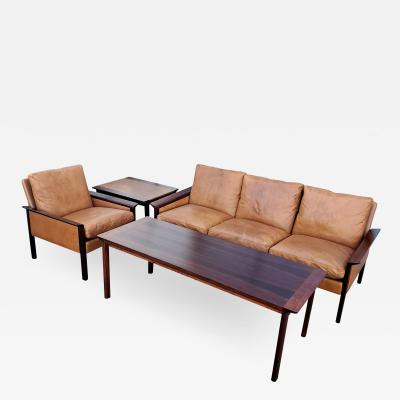 Hans Olsen Hans Olsen Rosewood Leather Side Table Matching Coffee Table