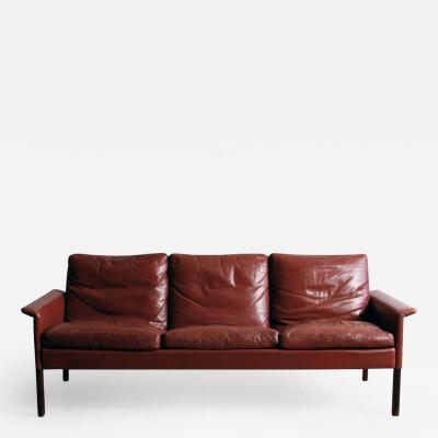 Hans Olsen Hans Olsen Rosewood Sofa with Original Oxblood Leather Model 500