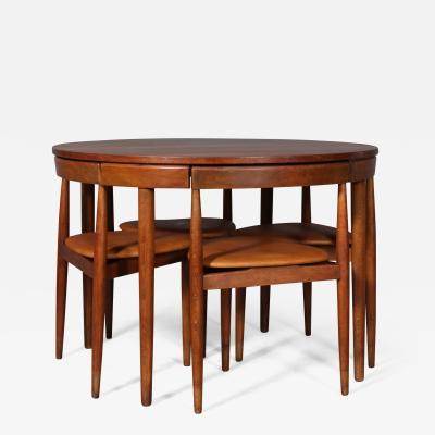 Hans Olsen Hans Olsen Roundette Round teak dining table W 4 chairs model Dinette 5