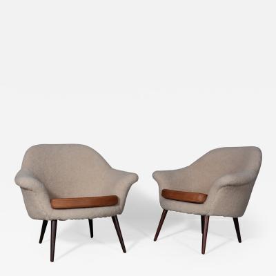 Hans Olsen Hans Olsen attributed Pair of armchairs with lambswool 2