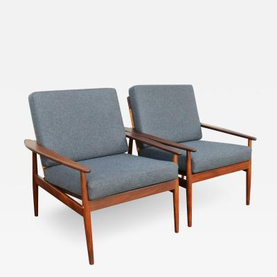 Hans Olsen Pair of Afromosia Teak Caned Back Lounge Chairs by Hans Olsen in Gray Wool