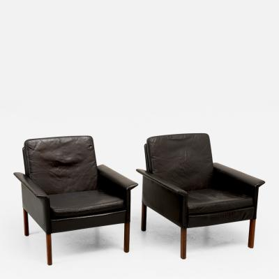 Hans Olsen Pair of Hans Olsen Rosewood and Leather Lounge Chairs