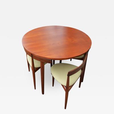 Hans Olsen Teak Hans Olsen Roundette Dining Set w 4 Three Legged Nesting Chairs