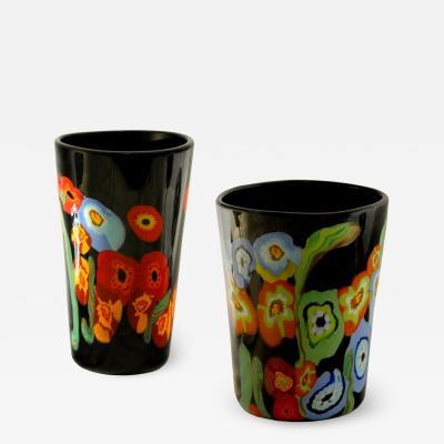 Hans Peter Neidhardt Hans Neidhart at Pavanello Pansy Poppy Pair of Vases Black Background Murano