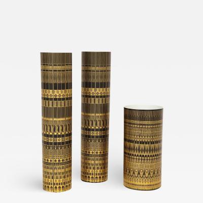 Hans Theo Baumann Hans Theo Baumann Porcelain Vases Rosenthal Gold Black Germany Signed 1970s
