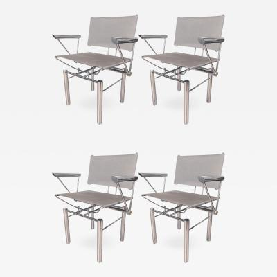Hans Ulirch Bitsch ARCHITECTURAL POLISHED STEEL ARMCHAIRS
