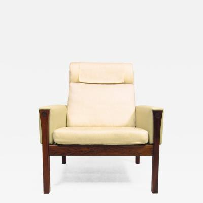 Hans Wegner 1960s High Back Lounge Chair in Rosewood Leather by Hans Wegner