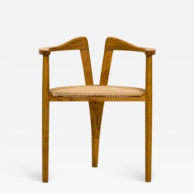 Hans Wegner American Studio Craft Tri Leg Chair in Oak with Woven Seat after Hans Wegner