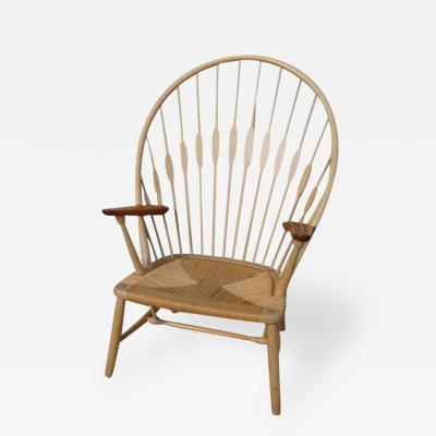 Hans Wegner Ash and Teak Peacock Chair by Hans Wegner for Johannes Hansen
