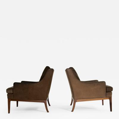 Hans Wegner Danish Leather and Rosewood Lounge Chairs