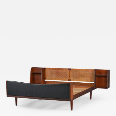 Hans Wegner Danish Midcentury Teak double bed with Cane headboard by Hans Wegner