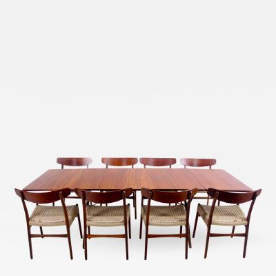 Hans Wegner Danish Modern Eight Chair Dropleaf Dining Set Designed by Hans Wegner
