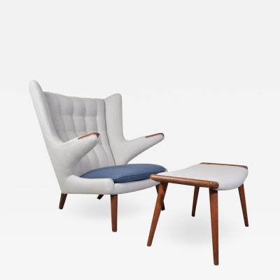 Hans Wegner Early Hans Wegner AP 19 Papa Bear Chair and Ottoman in Teak