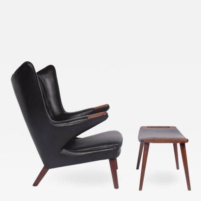 Hans Wegner Early Papa Bear Chair and Ottoman by Hans Wegner for A P M bler
