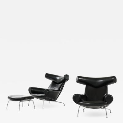 Hans Wegner Easy Chairs and Stool Model EJ 100 Produced by Erik J rgensen
