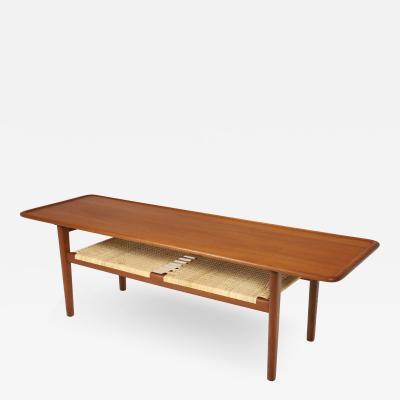 Hans Wegner Exceptional Scandinavian Modern Teak Cane Coffee Table Designed by Hans Wegner