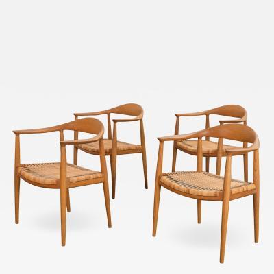 Hans Wegner Hans J Wegner Cane Round Dining Chairs