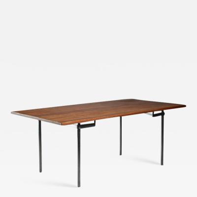 Hans Wegner Hans J Wegner Desk or Dining Table with wooden Top and Stainless Steel Frame