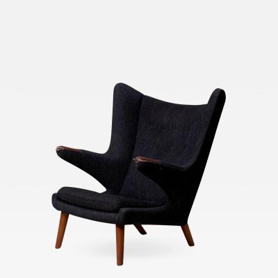 Hans Wegner Hans J Wegner Papa Bear Chair in Black Fabric