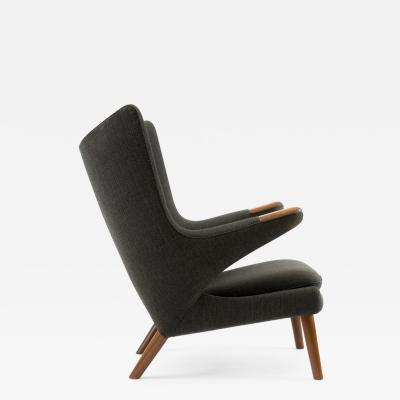 Hans Wegner Hans J Wegner Papa Bear Chair in Original Charcoal Gray Wool Upholstery