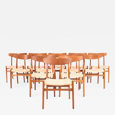 Hans Wegner Hans J Wegner Set of 12 Oak Dining Chairs