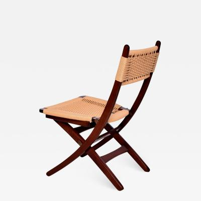 Hans Wegner Hans J Wegner Style Clever Folding Chair Woven Rope Cord Solid Wood 1960s
