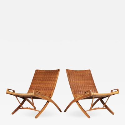 Hans Wegner Hans Wegner Cane and Oak Folding Chairs for Johannes Hansen of Denmark