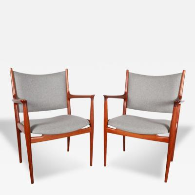 Hans Wegner Hans Wegner JH 513 Cashmere and Teak Arm Chairs