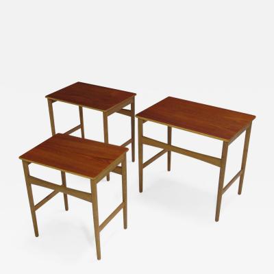 Hans Wegner Hans Wegner Teak and Oak Danish Nesting Side Tables