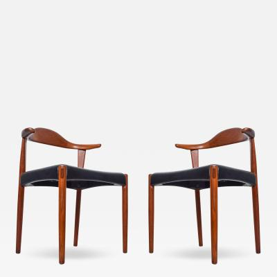 Hans Wegner Mid Century Danish Modern Cow Horn Teak Chairs Pair after Hans J Wegner