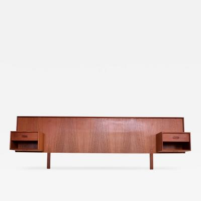 Hans Wegner Mid Century Danish Modern Queen Teak Headboard Floating Nightstands
