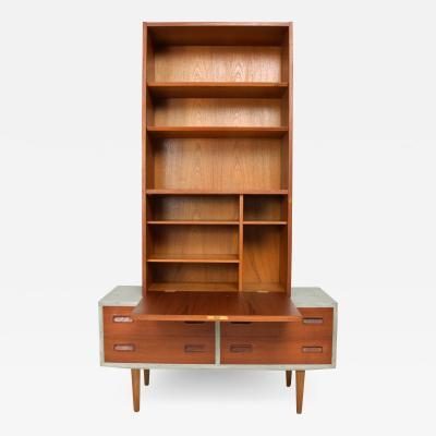 Hans Wegner Modern Flair Scandinavian Teak Cabinet Bookcase in Ceruse Gray 1970s Denmark