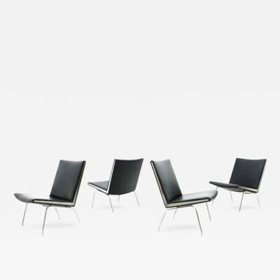 Hans Wegner One of Four Airport Leather Lounge Chairs AP 40 by Hans J Wegner Denmark