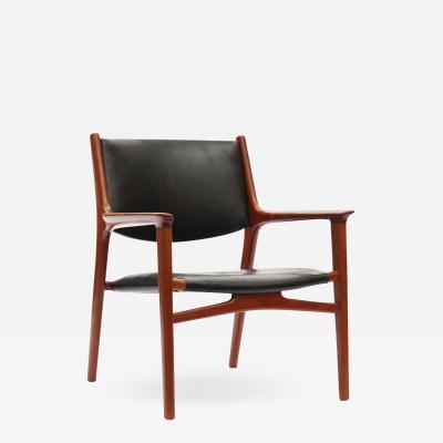 Hans Wegner Oxhide Teak Lounge Chair by Hans J Wegner