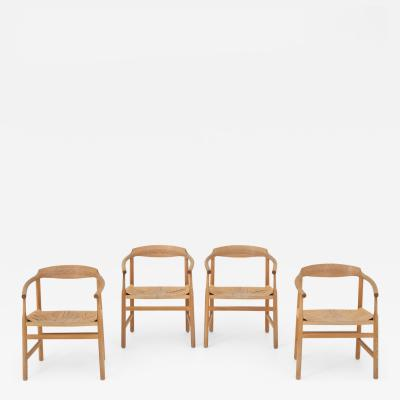 Hans Wegner PP 201 Dining chairs in oak set