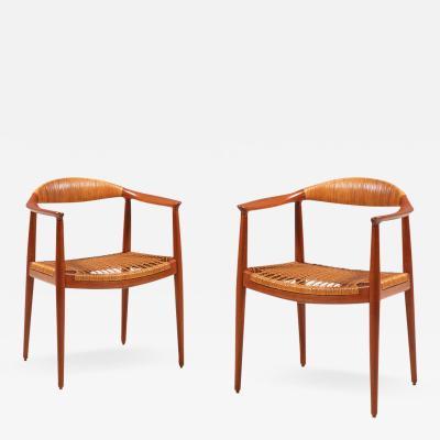 Hans Wegner Pair of Hans J Wegner Round Caned Arm Chairs for Johannes Hansen
