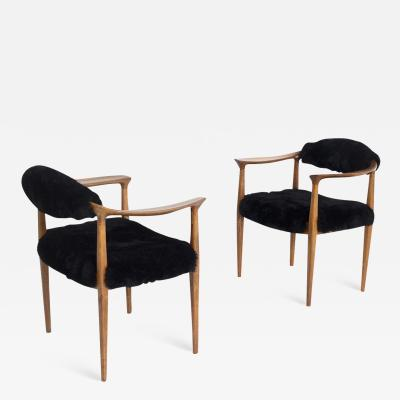 Hans Wegner Pair of black armchairs by Hans Wegner Mod JH 501 in teak 1950s
