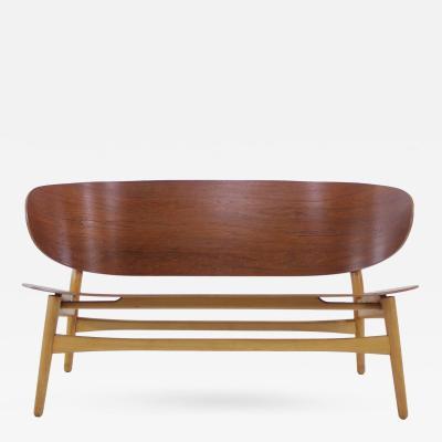 Hans Wegner Rare Danish Modern Shell Settee Designed by Hans Wegner