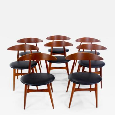 Hans Wegner Rare Set of Eight Danish Modern Dining Chairs Designed by Hans Wegner