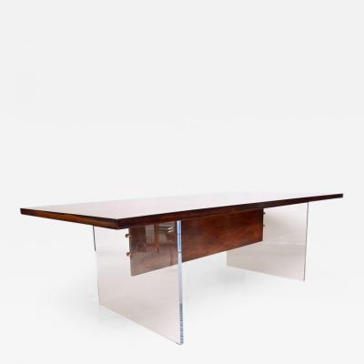 Hans Wegner Rosewood Lucite Dining Table Mid Century Modern