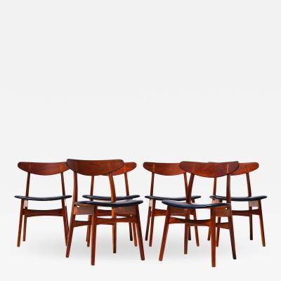 Hans Wegner Set Of 6 Hans J Wegner Dining Chairs Model CH30 For Carl Hansen Son