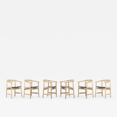 Hans Wegner Set of 6 Hans Wegner PP203 Chairs in Oak and Leather for PP M bler 1950s