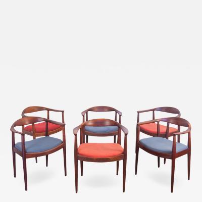 Hans Wegner Set of 6 Wegner Style Dining Armchairs for Edward Axel Roffman