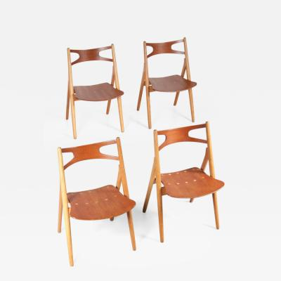 Hans Wegner Set of Four CH29 Sawbuck Dining Chairs by Hans J Wegner for Carl Hansen Son