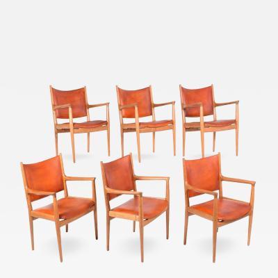 Hans Wegner Set of Six Hans Wegner 513 Armchairs for Johannes Hansen